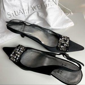 Stuart Weitzman satin jeweled shoes